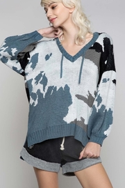 POL Camo Print V Neck Hoodie Sweater - Product Mini Image