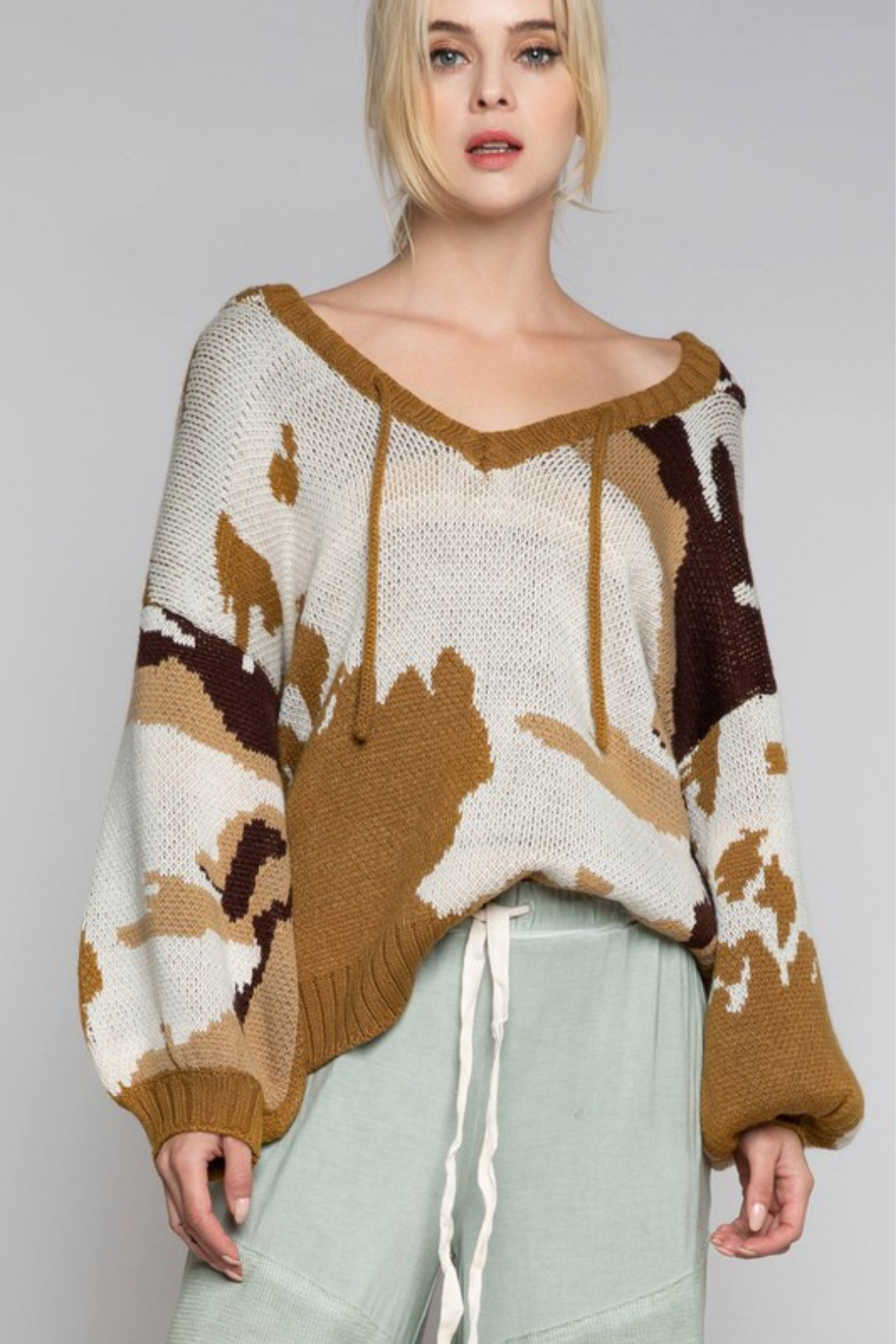 POL Camo Print V Neck Hoodie Sweater - Front Cropped Image
