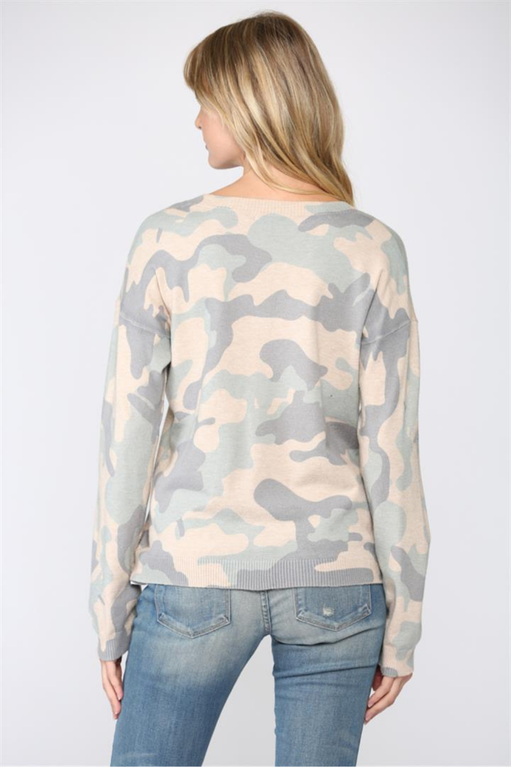 Fate  Camo Print V Neck Sweater - Front Full Image