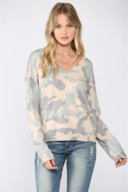 Fate  Camo Print V Neck Sweater - Front cropped