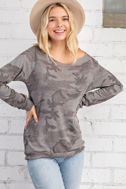 143 Story Camo Print Wide Neck Long Sleeve Top - Front cropped