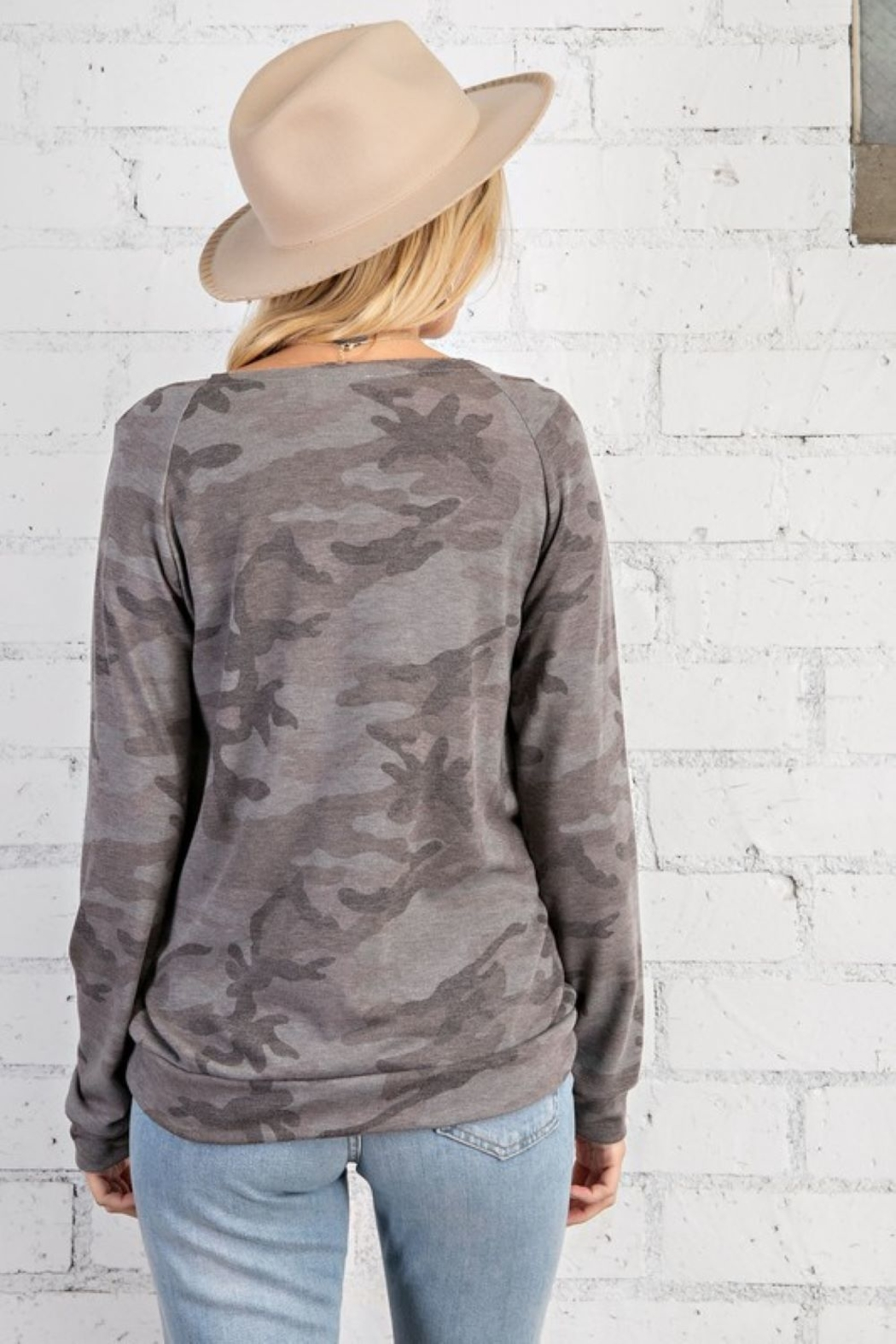143 Story Camo Print Wide Neck Long Sleeve Top - Side Cropped Image