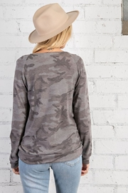 143 Story Camo Print Wide Neck Long Sleeve Top - Side cropped