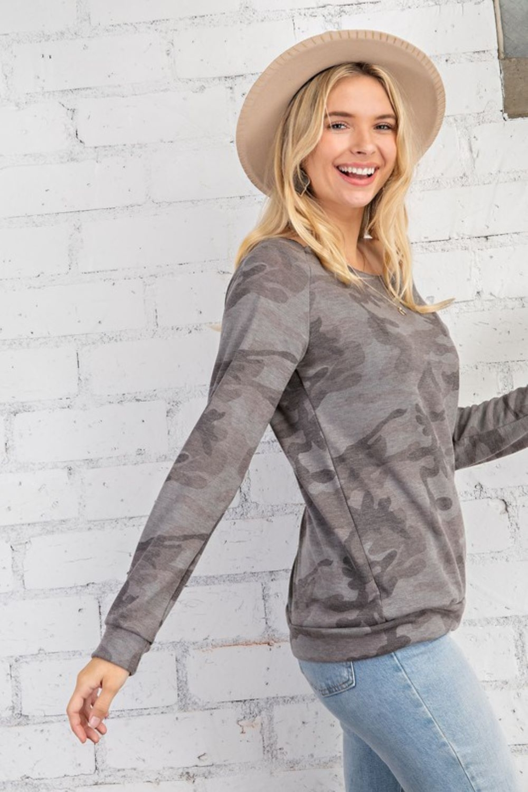 143 Story Camo Print Wide Neck Long Sleeve Top - Front Full Image