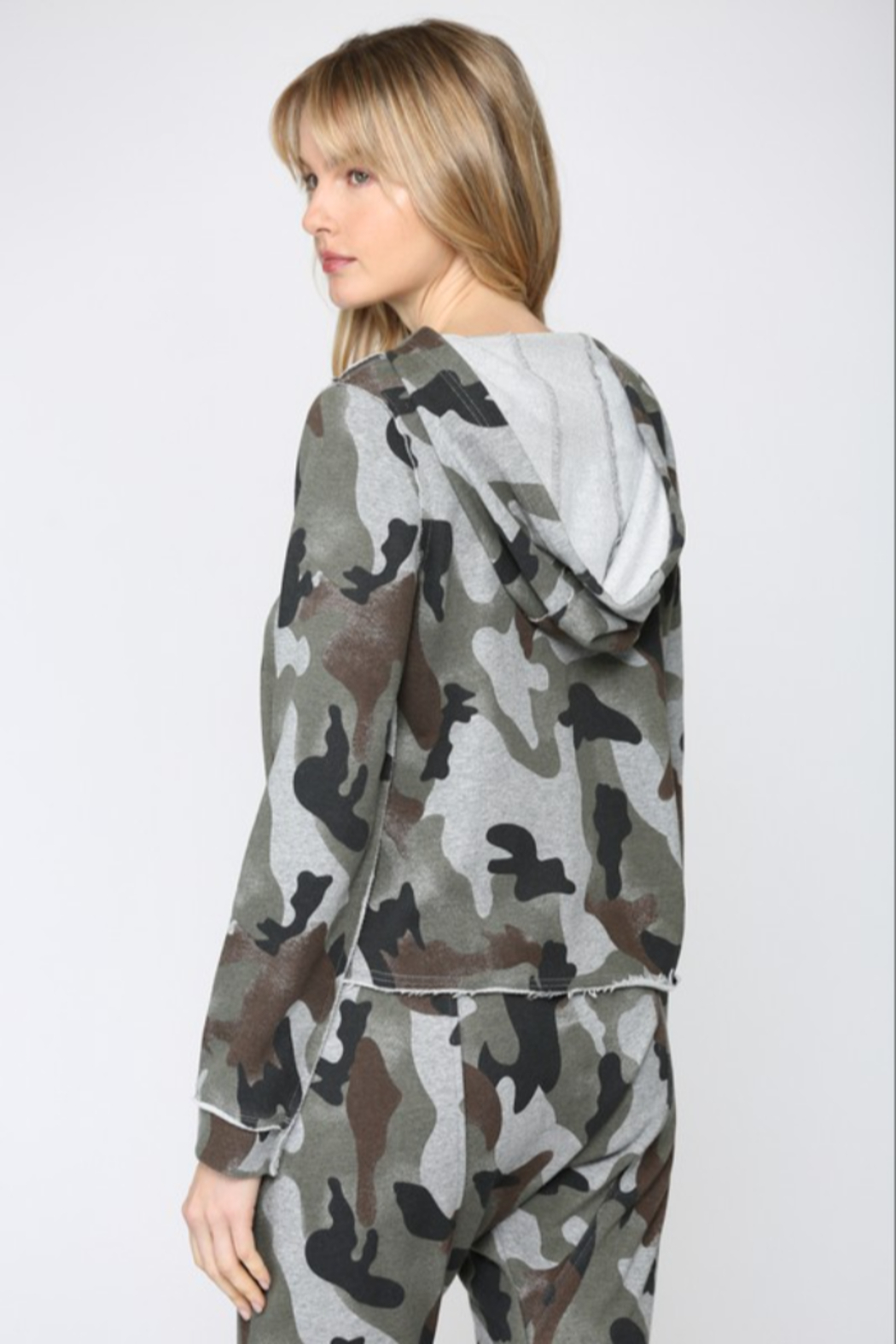 Fate  Camo Printed Hooded Sweatshirt - Front Full Image