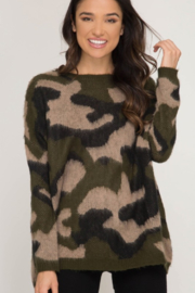Sweet Lovely  Camo Pullover Sweater - Product Mini Image