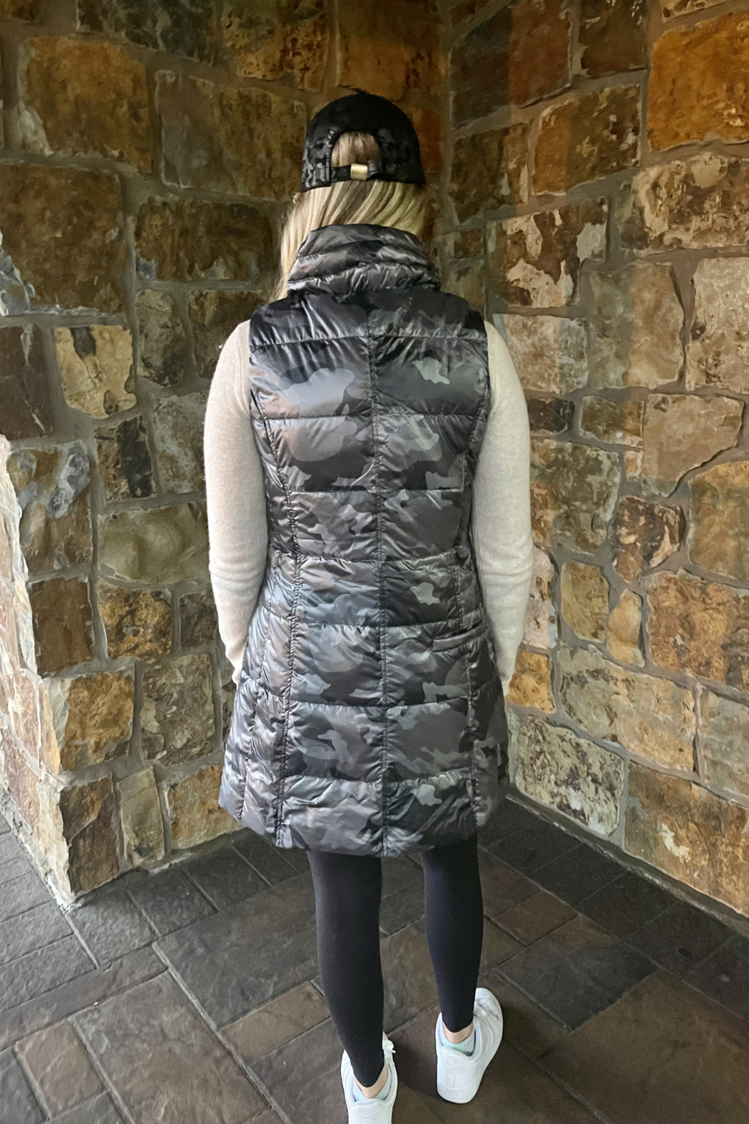 Anorak  Camo Quilted Long Vest - Side Cropped Image