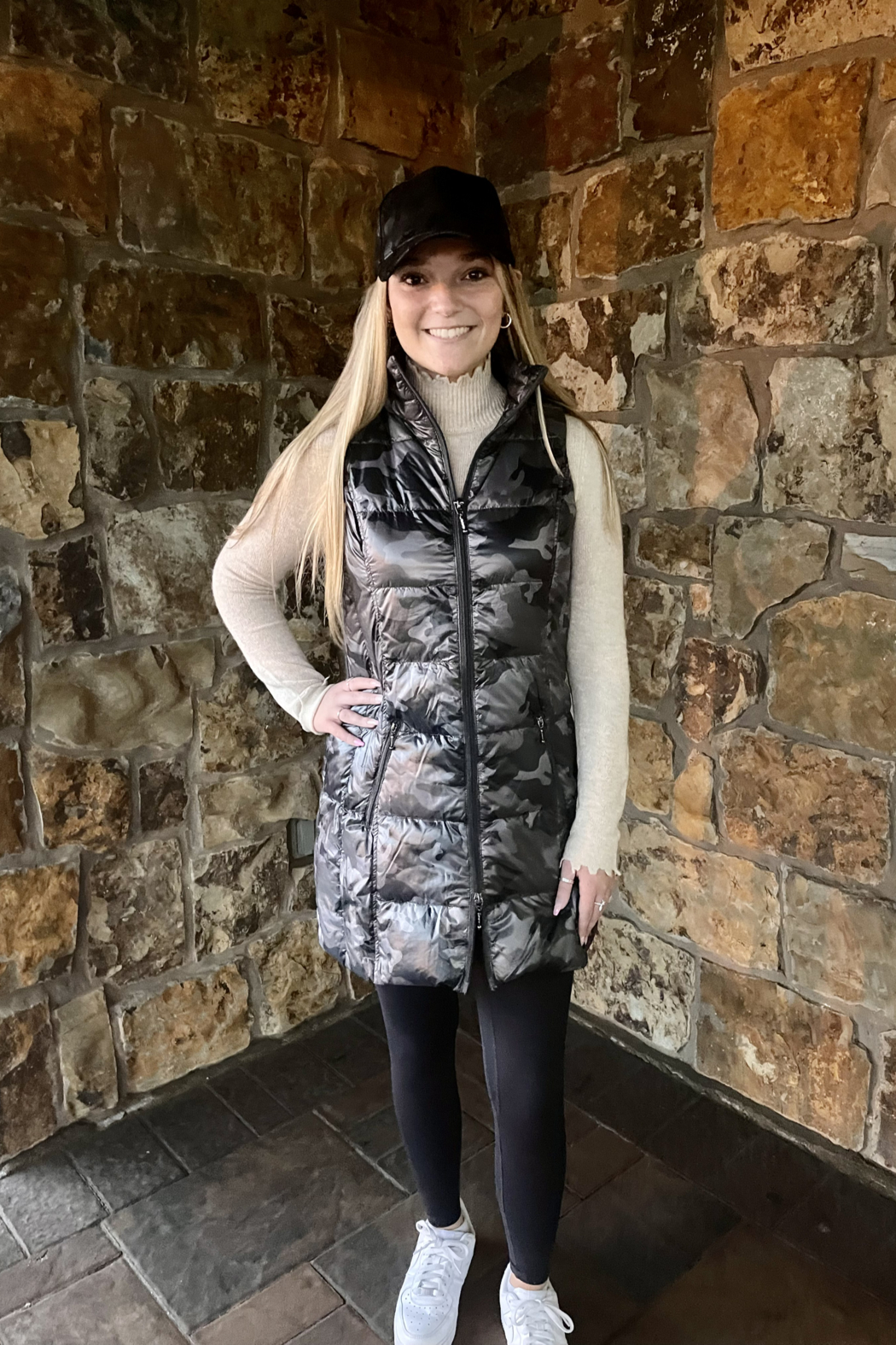 Anorak  Camo Quilted Long Vest - Main Image
