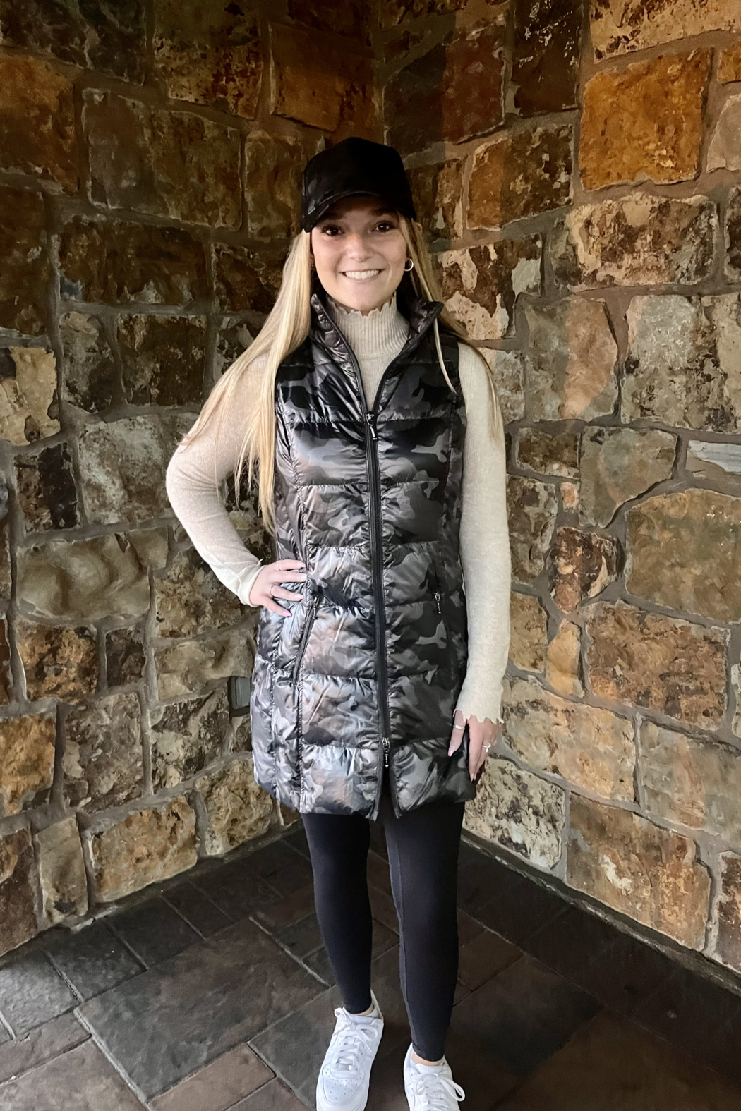 Anorak  Camo Quilted Long Vest - Front Full Image