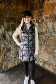 Anorak  Camo Quilted Long Vest - Front full body