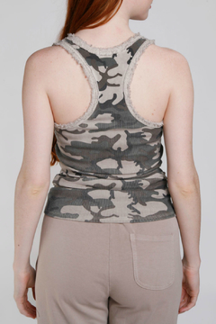 Baci Camo Raw Edge Ribbed Tank - Alternate List Image