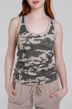 Baci Camo Raw Edge Ribbed Tank - Product List Image