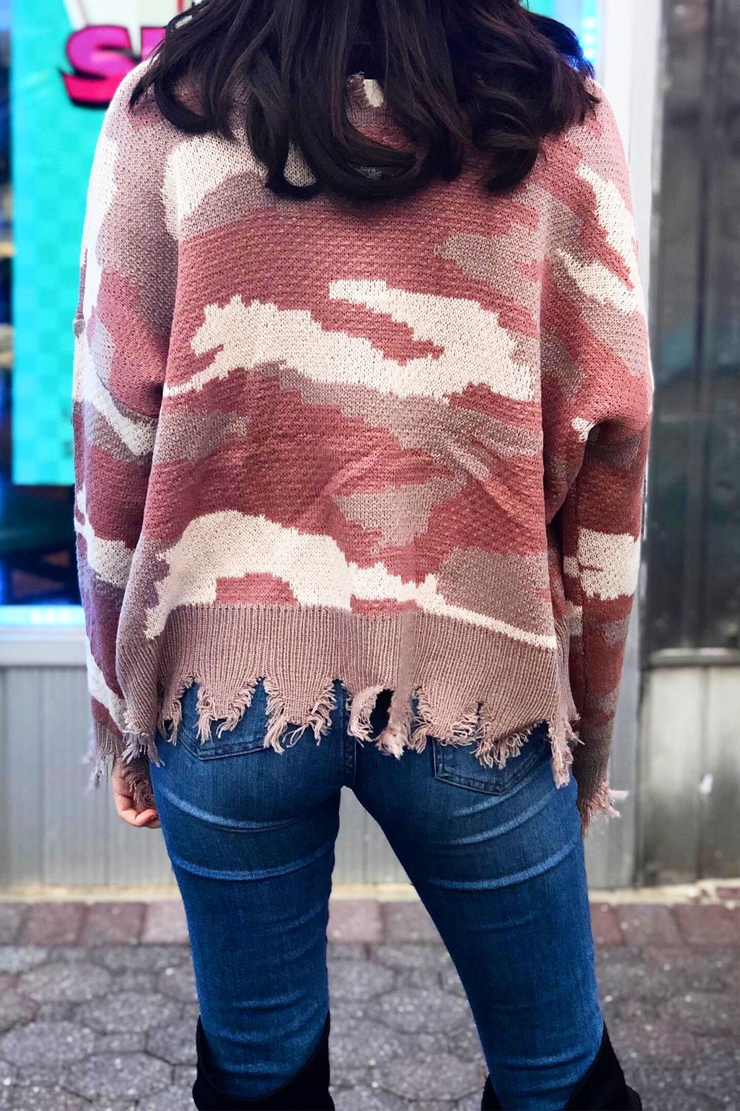 Fascination Camo Ripped Sweater - Front Full Image