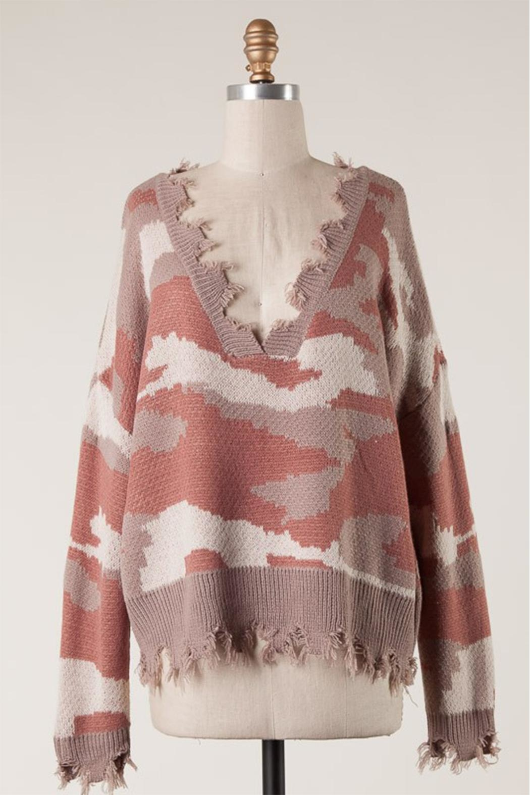Fascination Camo Ripped Sweater - Side Cropped Image