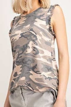 12pm by Mon Ami Camo Ruffle Tank - Product List Image