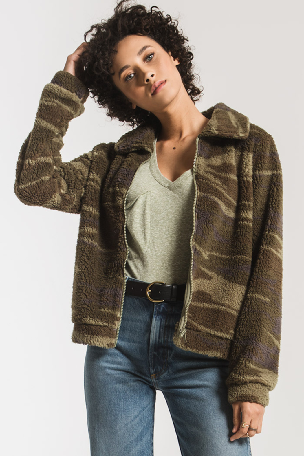 z supply Camo Sherpa Crop Jacket - Front Cropped Image