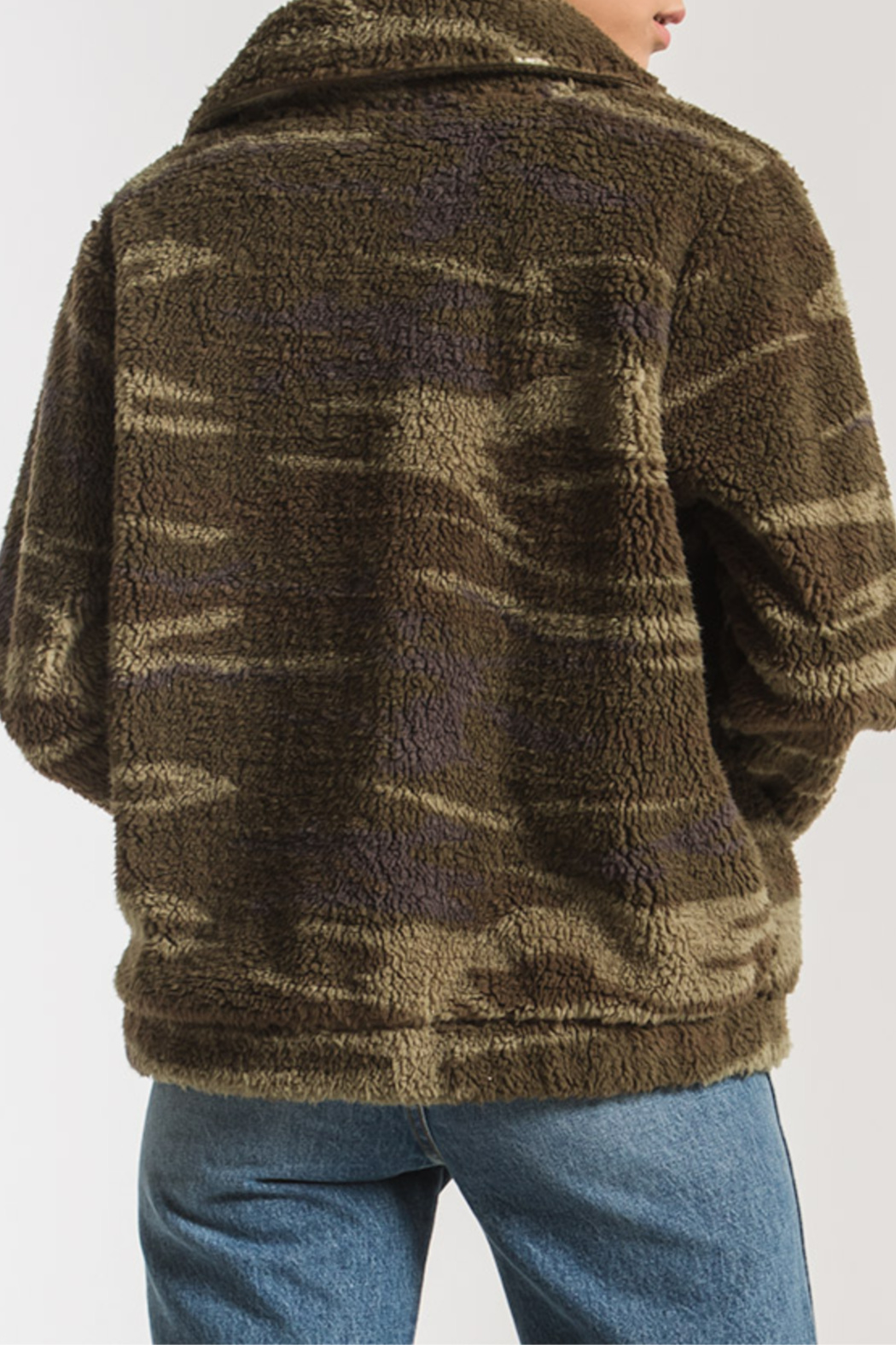 z supply Camo Sherpa Crop Jacket - Front Full Image