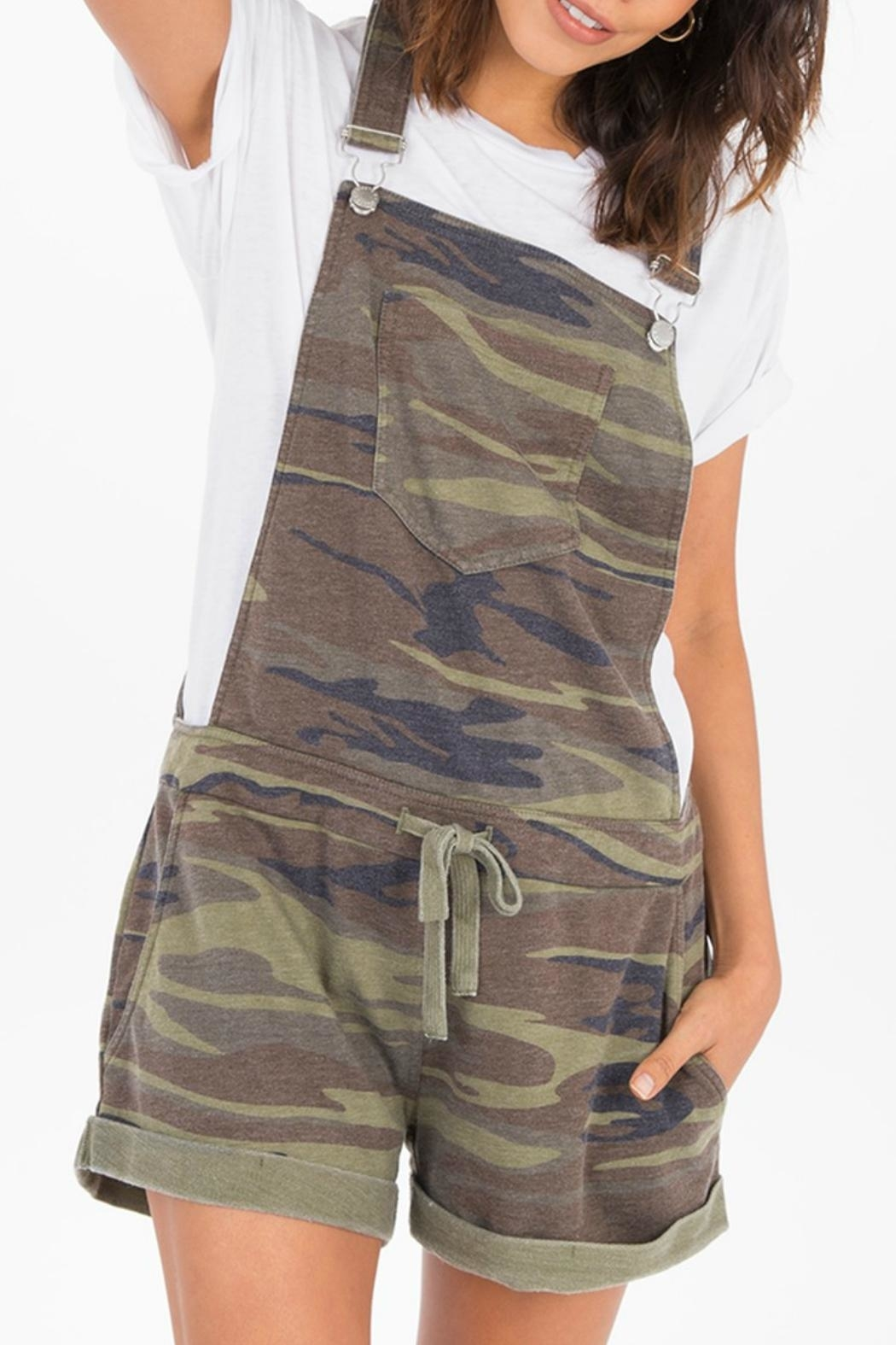 z supply Camo Short Overalls - Back Cropped Image