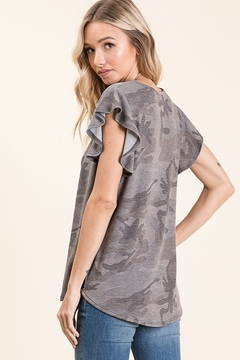 bombom Camo Short Sleeve Top with Ruffle - Alternate List Image