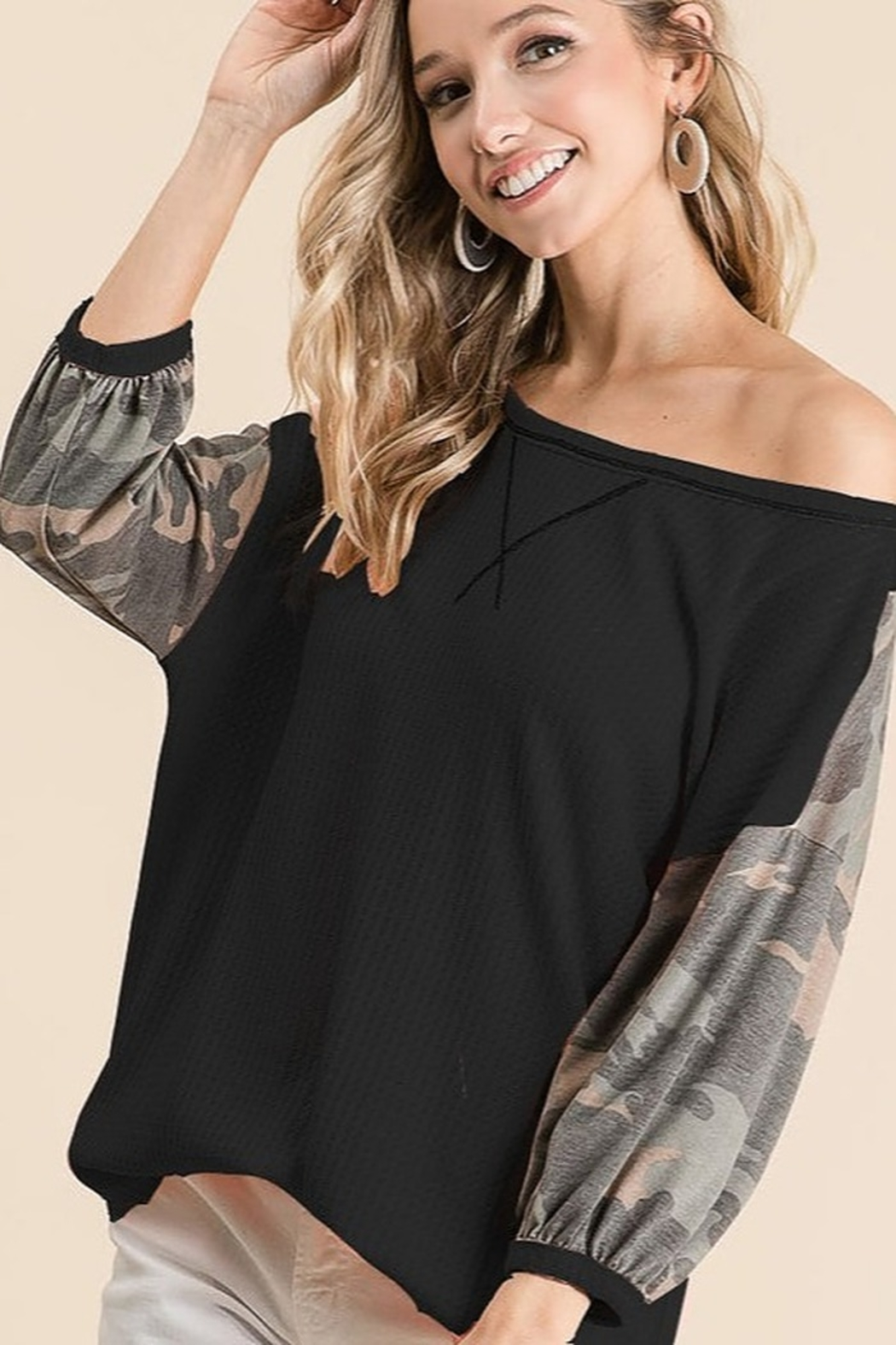 Bibi Camo Sleeve Thermal Top - Front Cropped Image