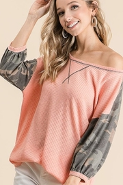 Bibi Camo Sleeve Thermal Top - Front cropped