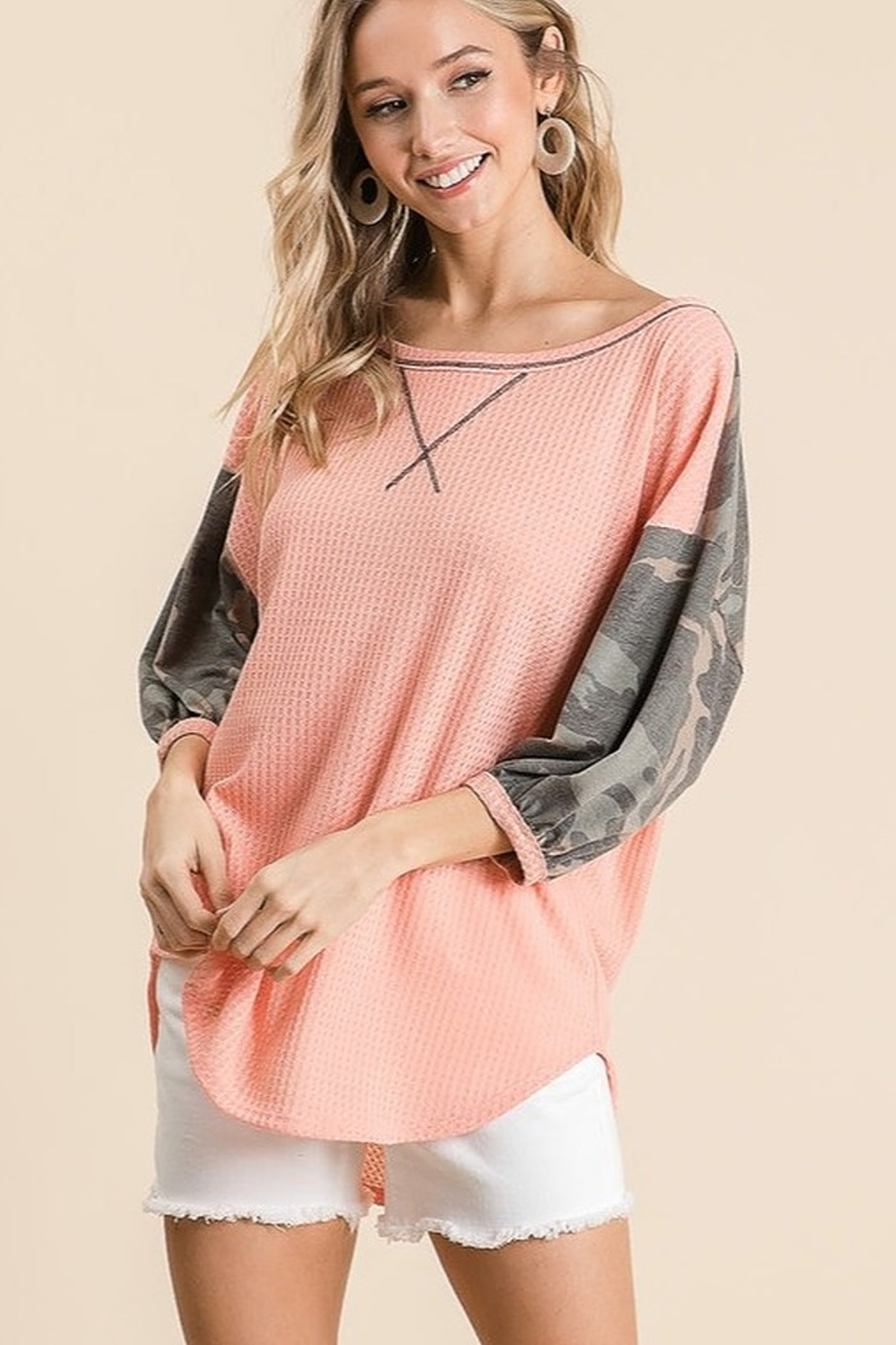 Bibi Camo Sleeve Thermal Top - Front Full Image