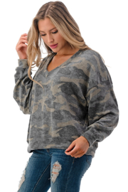 Ariella USA Camo Soft Knit Pullover - Front full body