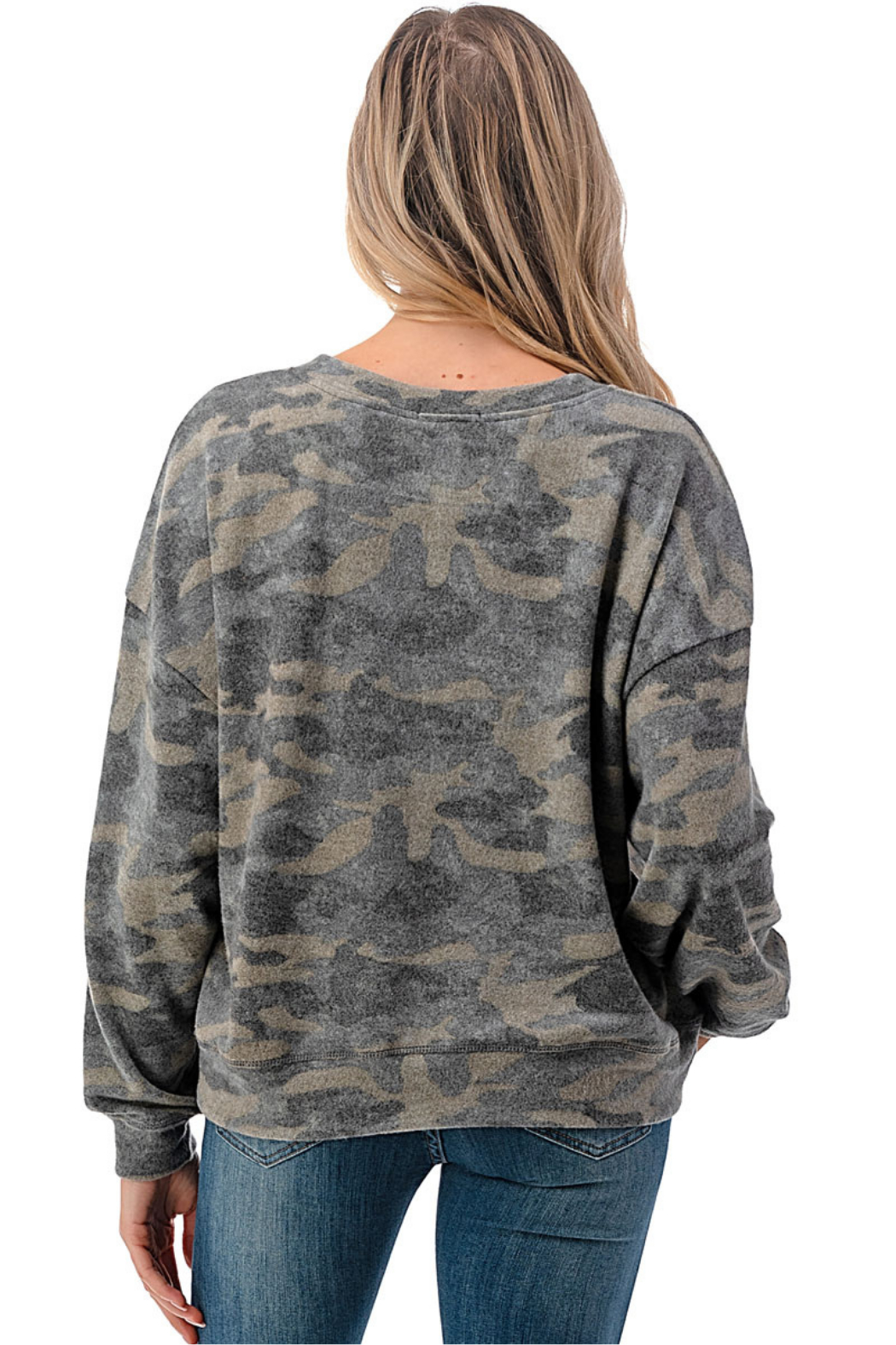 Ariella USA Camo Soft Knit Pullover - Side Cropped Image