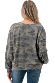 Ariella USA Camo Soft Knit Pullover - Side cropped