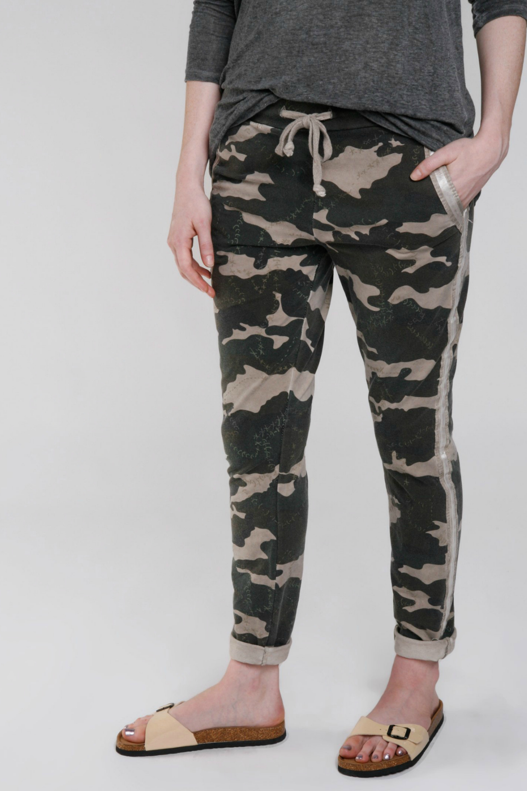 Baci Camo Stitch Reflector Trackpant - Front Cropped Image