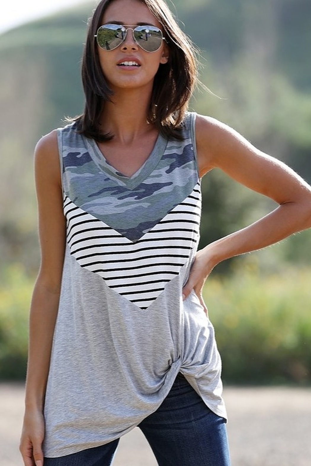Wanna B Camo Stripe Sleeveless Top - Front Cropped Image