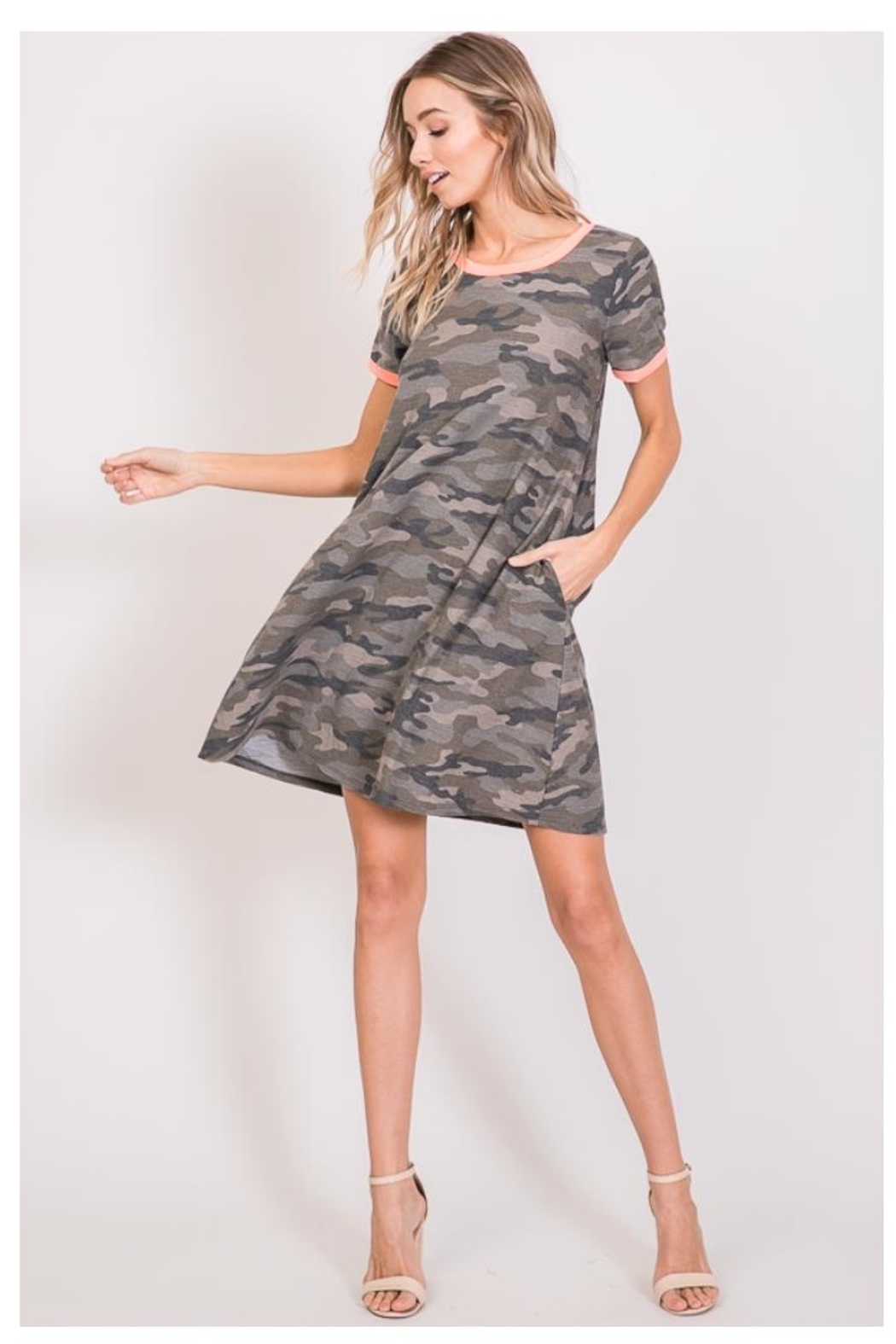 7th Ray Camo T-Shirt Dress - Side Cropped Image