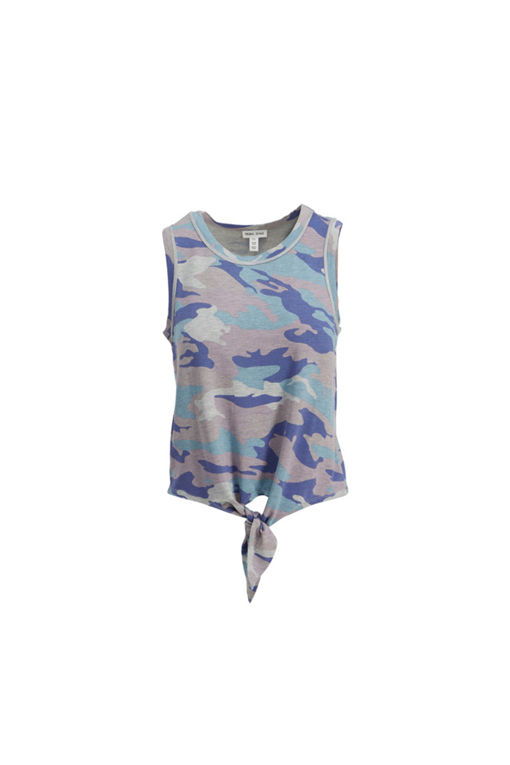 Tribal Jeans Camo Tank With Tie - Front Cropped Image