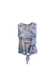 Tribal Jeans Camo Tank With Tie - Front cropped