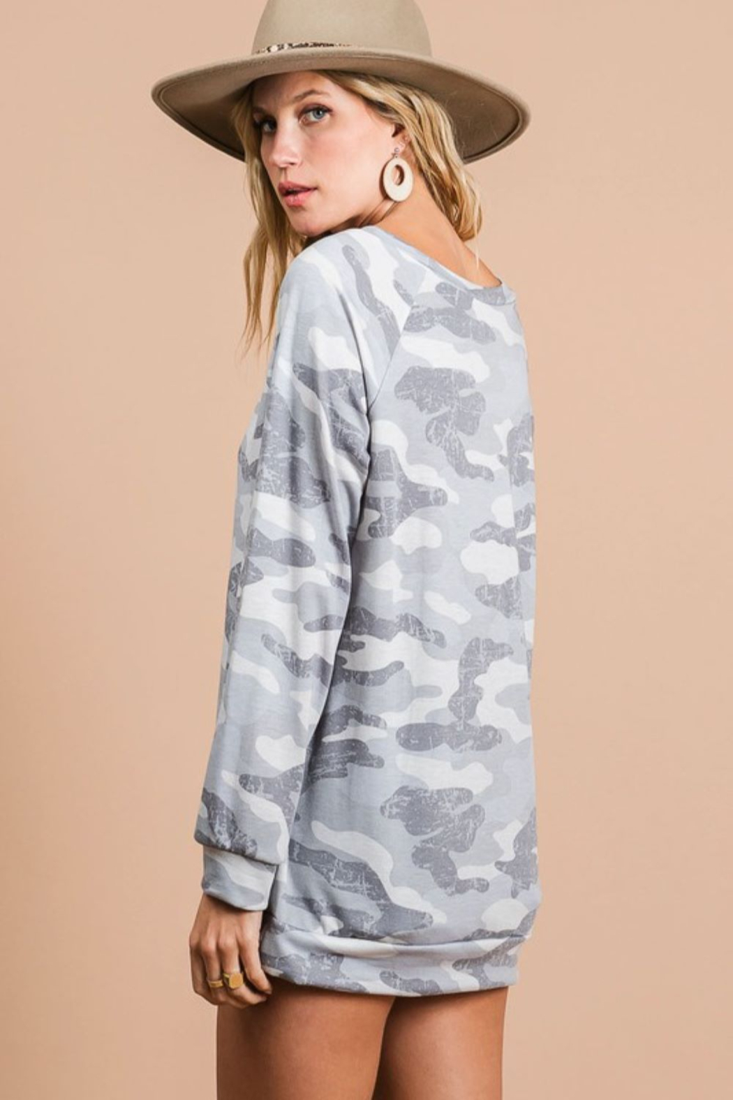 Bibi Camo Terry Pull Over - Side Cropped Image