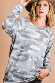Bibi Camo Terry Pull Over - Front cropped
