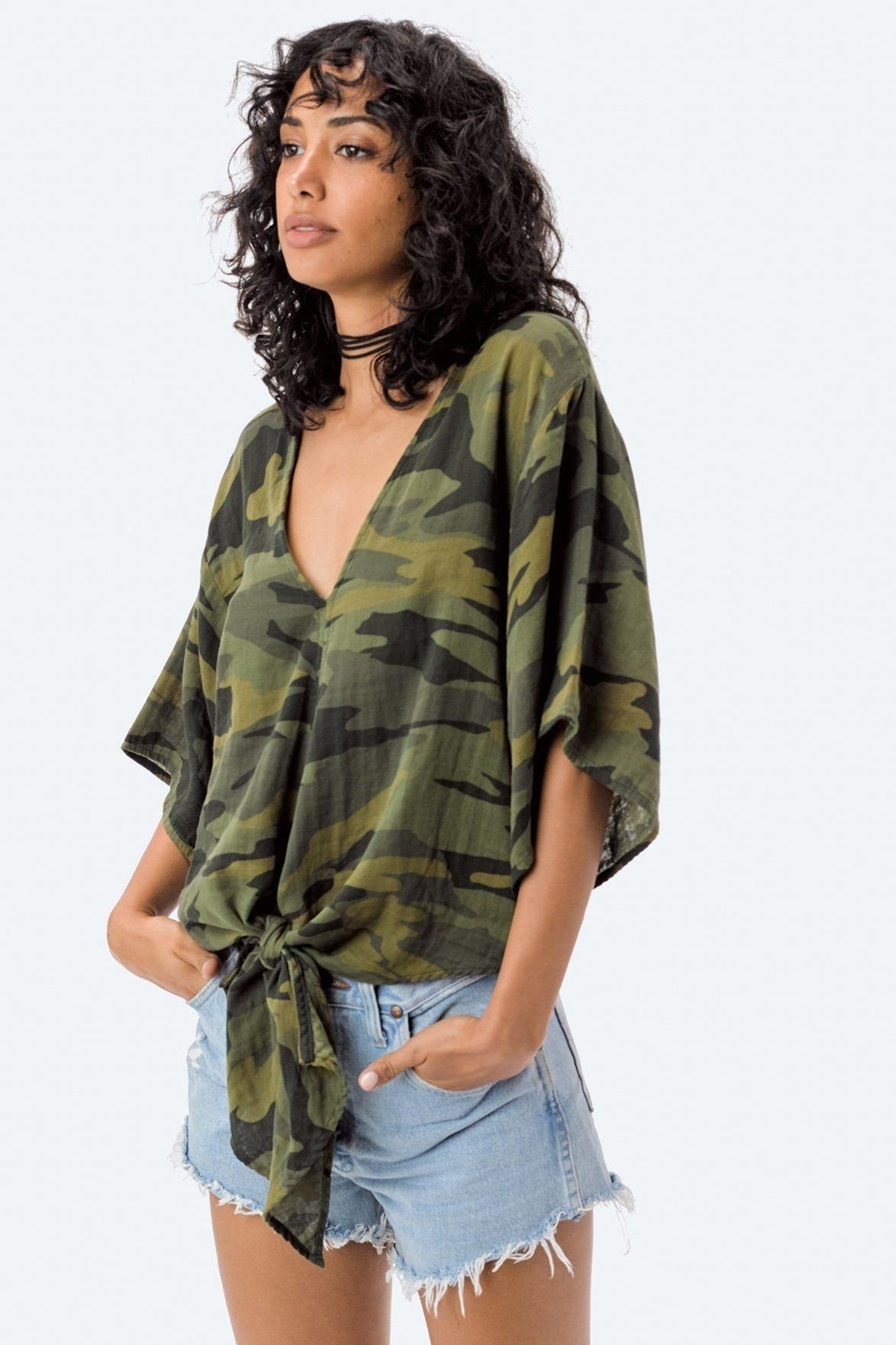 Lovestitch Camo Tie Top - Side Cropped Image