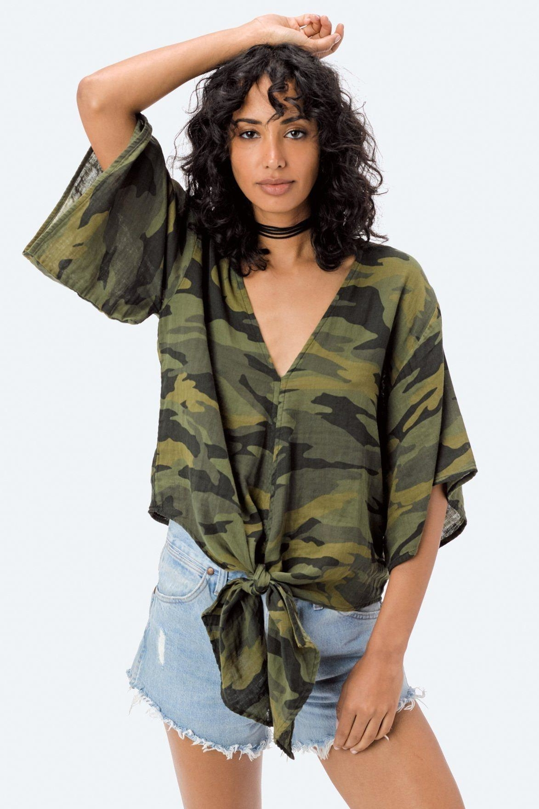 Lovestitch Camo Tie Top - Front Full Image