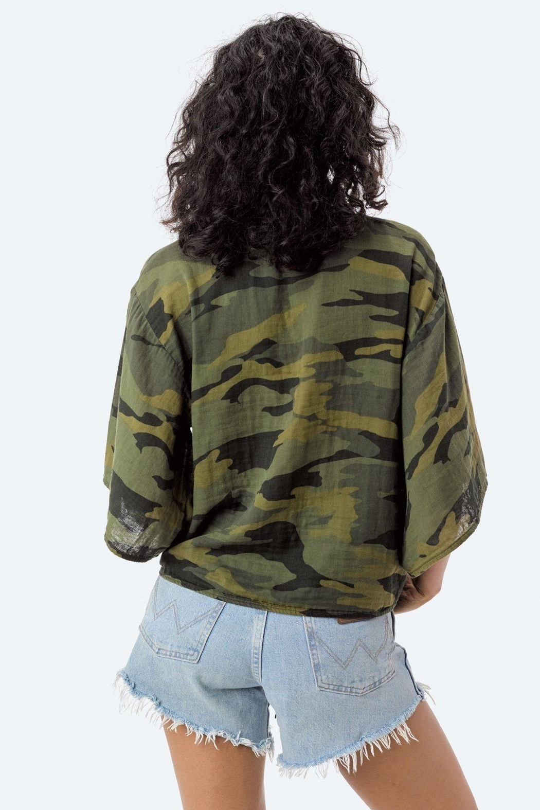 Lovestitch Camo Tie Top - Back Cropped Image