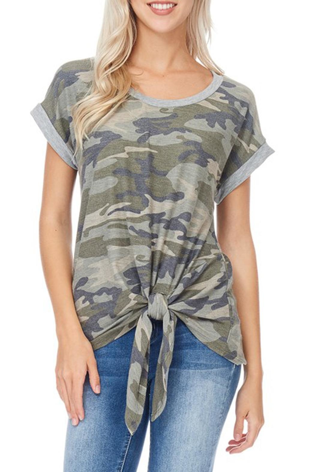 7th Ray Camo Tie Top - Front Cropped Image