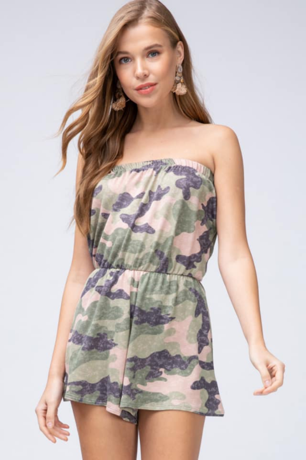 Entro  Camo Tube Romper - Front Cropped Image