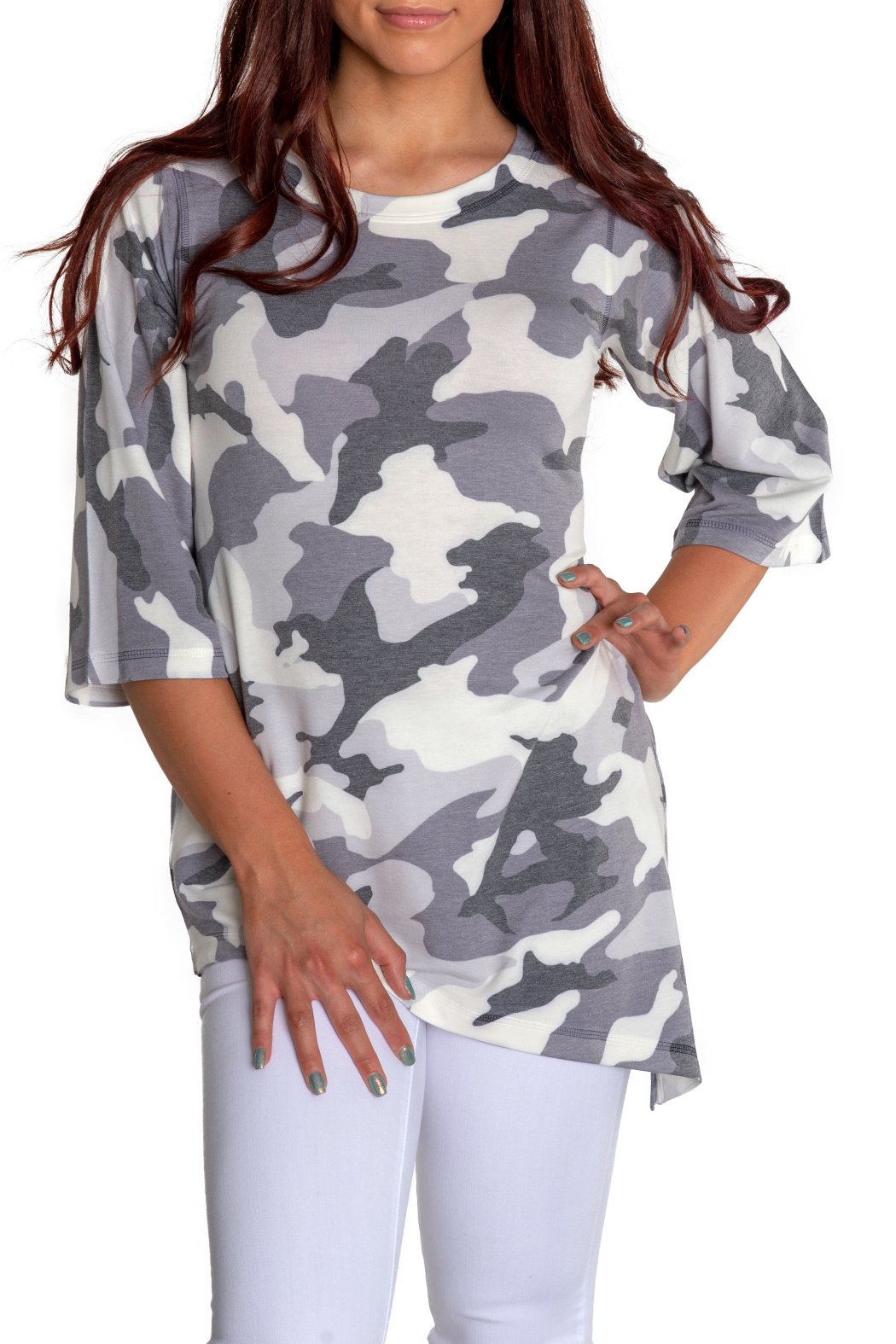 Nally & Millie Camo Tunic w Tapered Hem - Front Full Image