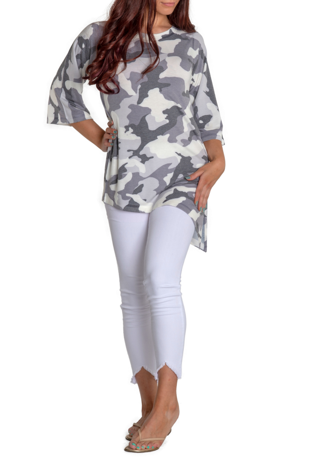 Nally & Millie Camo Tunic w Tapered Hem - Main Image