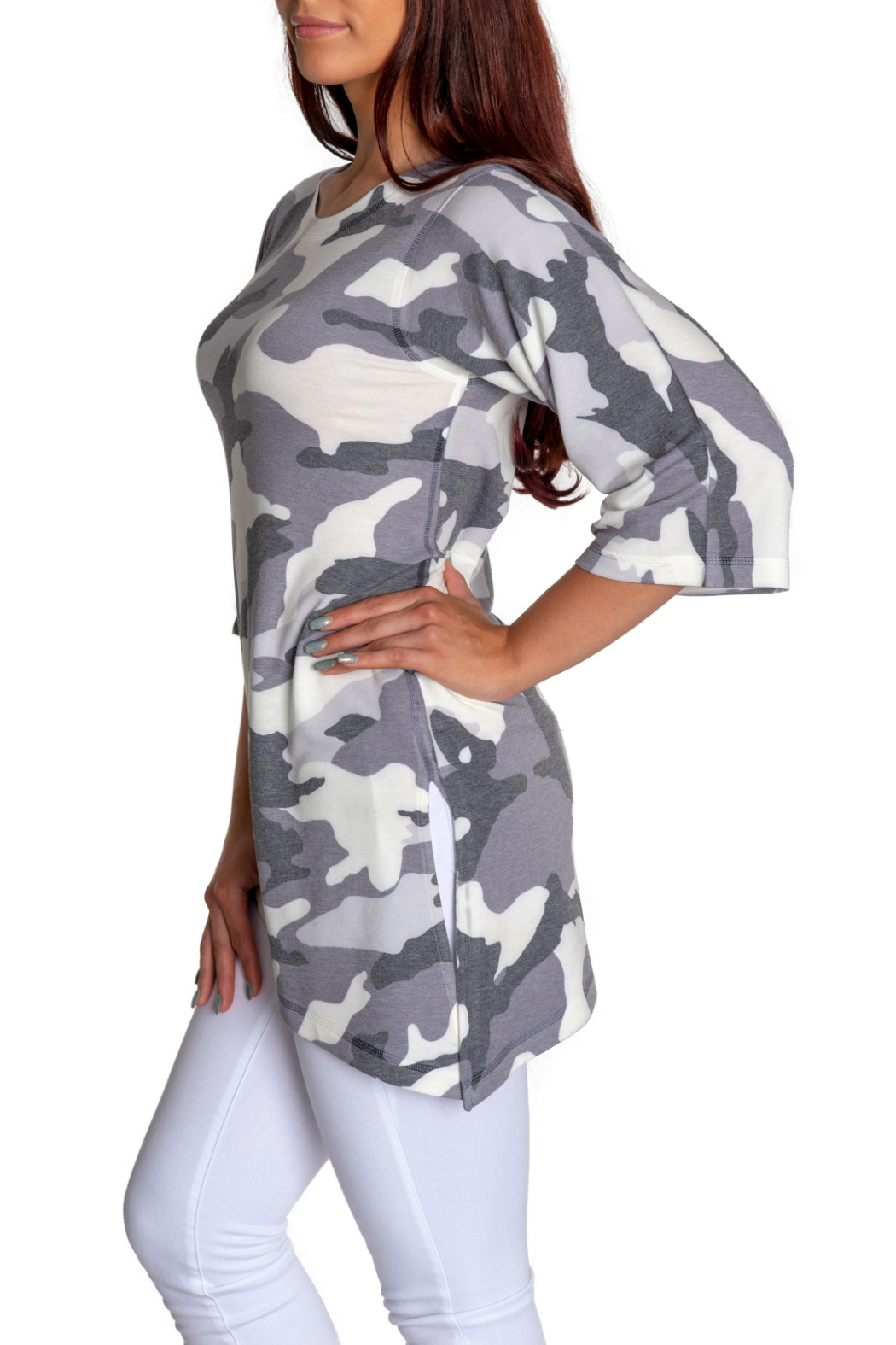 Nally & Millie Camo Tunic w Tapered Hem - Side Cropped Image