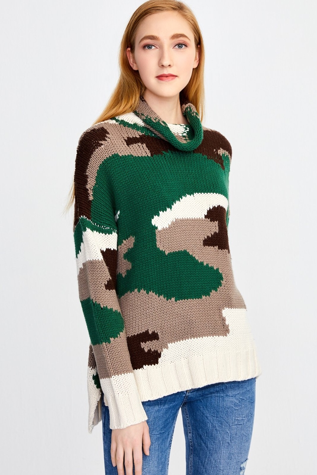 525 America Camo Turtleneck Sweater - Front Full Image