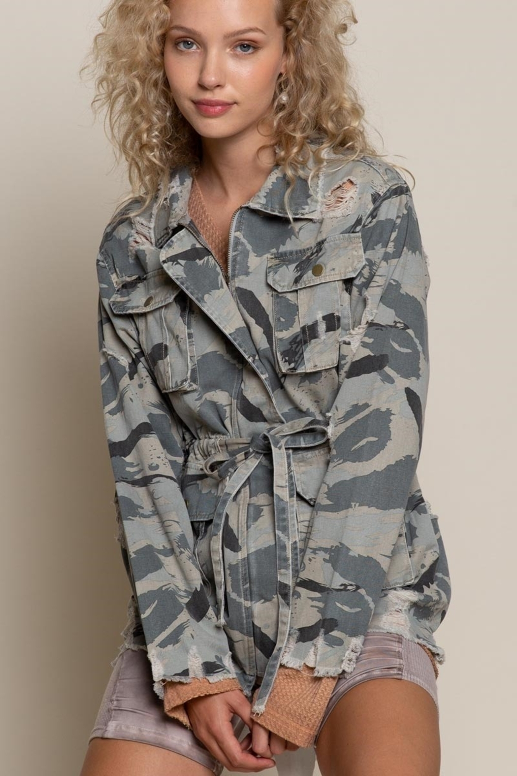 POL  Camo Twill Jacket - Side Cropped Image