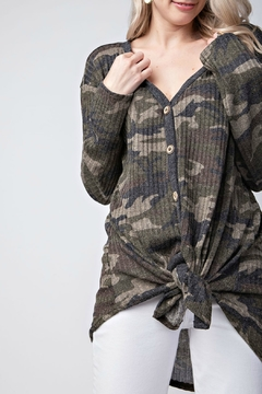12pm by Mon Ami Camo V-Neck Cardigan - Product List Image