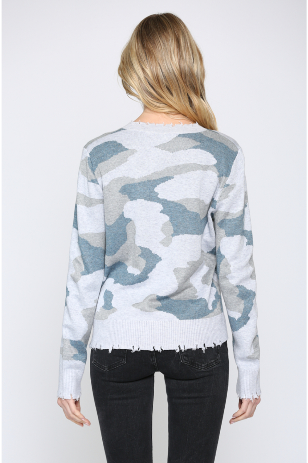 Fate Camo V Neck Distressed Sweater - Front Full Image