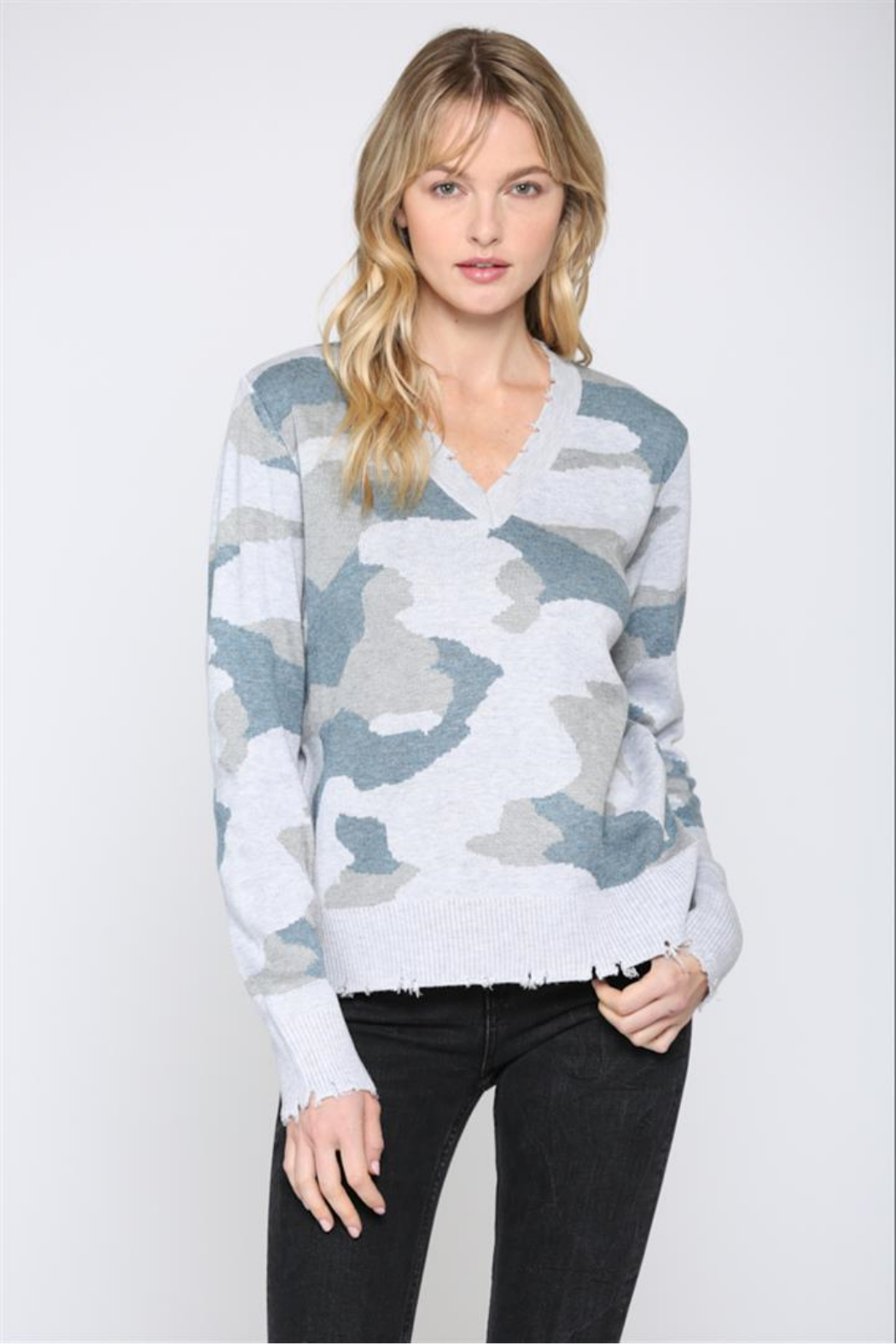 Fate Camo V Neck Distressed Sweater - Main Image