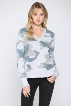 Shoptiques Product: Camo V Neck Distressed Sweater
